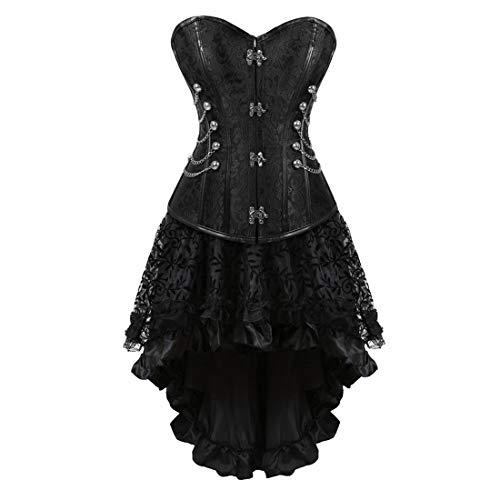 (Zhitunemi Women Halloween Costume Gothic Victorian Corsets Burlesque Dresses Moulin Rouge Black)