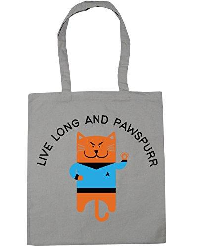 HippoWarehouse vivir largo y pawspurr Tote Compras Bolsa de playa 42cm x38cm, 10litros gris claro