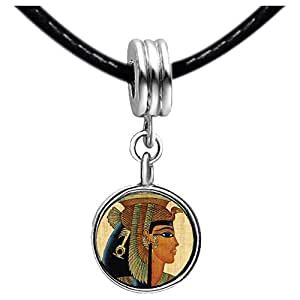 Chicforest Silver Plated Egyptian Queen Cleopatra Photo Emerald Green Crystal May Birthstone Flower dangle Charm Beads Fits Pandora Charms