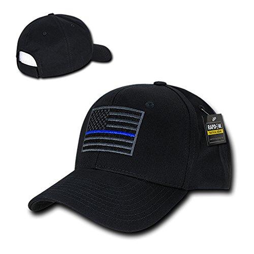 usa-american-flag-embroidered-6-panel-adjustable-operator-cap-thin-blue-line-black