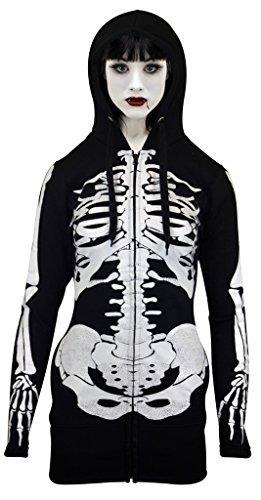 Half Zip Face Halloween (SKYLINEWEARS Women Open Face Skeleton Hoodie Sweatshirt Halloween Costume Long Hoodie Black)