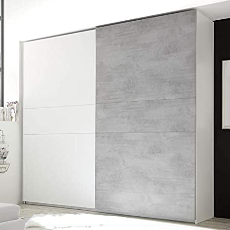 Tousmesmobili - Armario de 2 Puertas correderas, Color Blanco y Gris: Amazon.es: Hogar