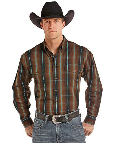 (Panhandle Men's Plaid Long Sleeve Western Shirt Brown X-Large )