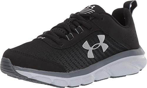 Under Armour Kids' Grade School Assert 8 Sneaker, Black (001)/Pitch Gray, 3.5