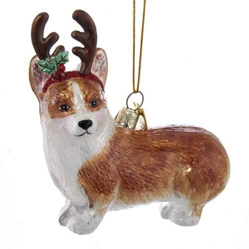 Pembroke Welsh Corgi with Antlers Ornament
