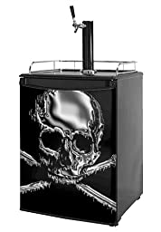Kegerator Skin - Chrome Skull on Black (fits medium sized dorm fridge and kegerators)