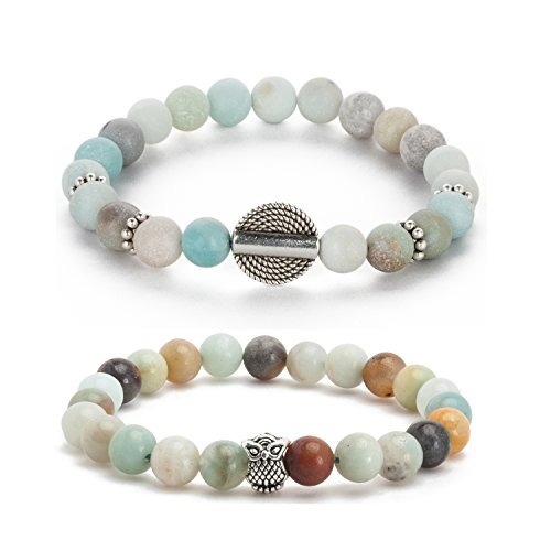 Counting Stars Yoga Peiki Prayer Bead Bracelet Environmental Bracelet Handmade Silver Owl Charms Bracelet for Men Women Stretch