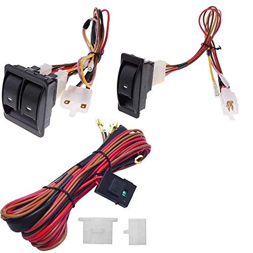 6Pcs 12V Universal Car Power Window Switch Regulator Kits with Wiring Harness for 2 Doors