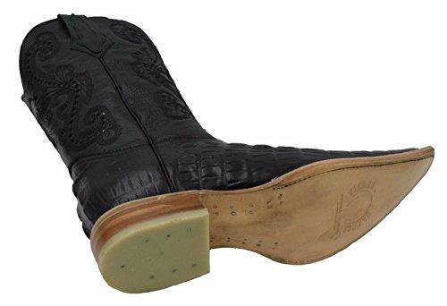 Dona Michi Uomo In Vera Pelle Di Vacchetta Stampa Coccodrillo Western Snip Toe Boots Con Cintura Nera
