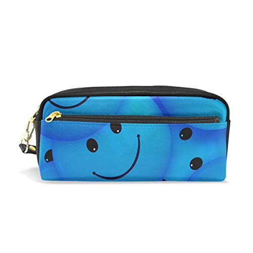 (NQEONR Pencil Case Stylish Print Samuel Smilies Smiley Emoticon Face Cartoon Smile Art Pattern Large Capacity Pen Bag Makeup Pouch Durable Students Stationery Two Pockets with Double)