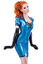 Bordelle-L'Amour Silhouette Latex Rubber Dress. Pearl Sheen Blue with Transparent Trim.