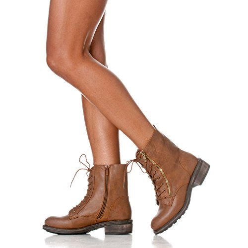 Mid Riverberry Lace Combat Up Brown Calf Military Boots Women's Zoe qEqHCFw