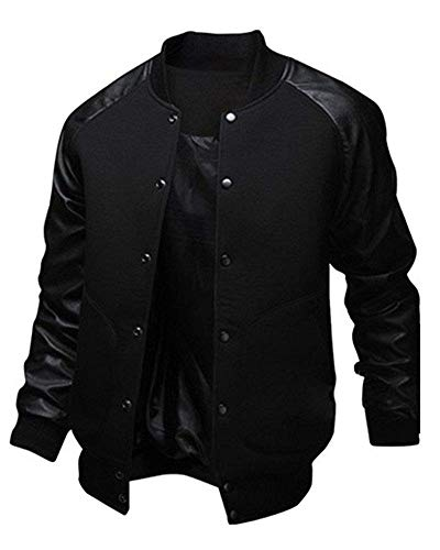 Kalanman Mens Fashion Splicing Leather Sleeve Letterman Jacket Varsity Baseball Bomber Jacket (XL, - Leather Letterman