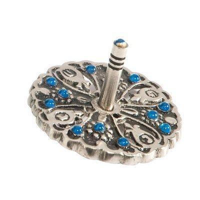 Dreidel Hanukkah-Gifts Ornament Game - Yair Emanuel Metal and Rhinestone Dreidel Bluee) by Yair Emanuel