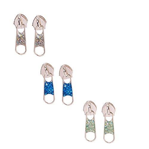 Zipper Earrings (Claire's Girl's Glittery Silver-tone Zipper Stud Earrings)