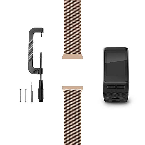 C2D JOY Compatible with Garmin Vivoactive HR Replacement Band with Pins and Pin Removal Tool, Fashion watchband for Daily wear Soft, Breathable Metal Weave - Rose Gold, L (7.6-9.5in.)