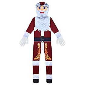 - 41k9CrmkOvL - MUCLOTH Kids 3D Printing Christmas Santa Claus Cosplay Costume Deluxe Santa Zentai Jumpsuit for Boys and Girls