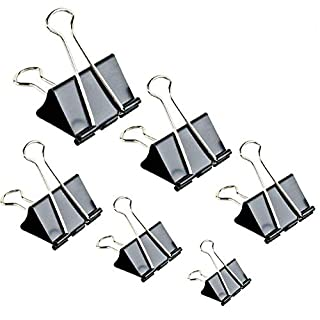 Binder Clips Paper Clamp for Paper-130 Pcs Clips Paper Binder Assorted Sizes (Black)