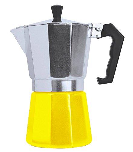 Stovetop Espresso Maker - Moka Pot Coffee Maker for Gas or Electric Stovetop Italian Espresso Cappuccino or Latte (3 CUP YELLOW)
