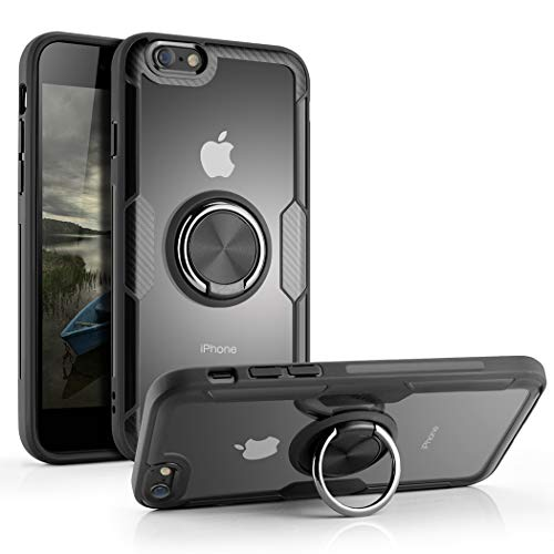 Phone Case Compatible iPhone 6 Plus, iPhone 6s Plus, Tempered Glass Back Cover Case with 360°Swivel Ring Kickstand Shock Absorption Anti-Scratch Cover Case, UvC4