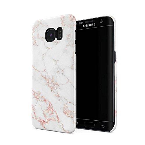 White & Raspberry Pink Strips Marble Print Hard Plastic Phone Case For Samsung Galaxy S6 Edge