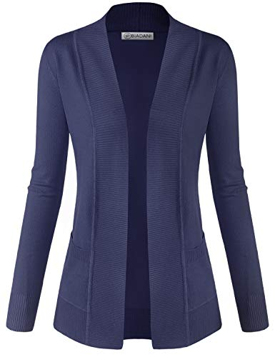 BIADANI Women Classic Soft Long Sleeve Open Front Cardigan Sweater Navy 1X-Large