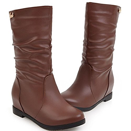 Coolcept On Brown Calf Mid Low Women Comfort Pull Slouch H Boots Flats T0pvTrwxqz