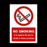 No Smoking - It is against the law to smoke on these premises Plastic Sign with 4 Pre-Drilled Holes - Different Pack Sizes Available - No Smoking / Building / Premises / Hotel (MISC9) by USSP&S