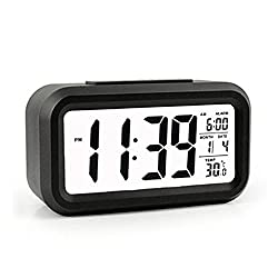 QIANXIANG Travel Alarm Clocks, LED Clock Slim Digital Alarm Clock Large Display Travel Alarm Clock with Calendar Battery Operated for Home Office (Temperature Display, Snooze Function) (Black)