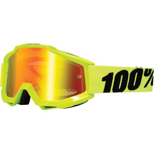 100% Accuri Men's Dirt Bike Motorcycle Goggles Eyewear - Fluo Yellow/Fluorescent Yellow/Mirror Red / One Size
