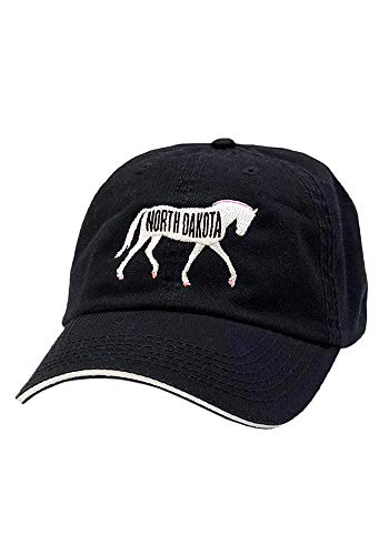 TurnipTruckDesigns Equestrian Prep Collection Horse & State Cap, Black (North Dakota) ()