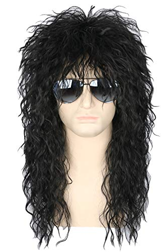 Topcosplay Mens 80s Wig Black Mullet Wigs Halloween Costume Male Wig Punk Heavy Metal Rocker Wig Curly Long -