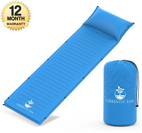Premium Self-Inflating Sleeping Pad - Inflatable Foam Sleeping Mat for Camping, Hiking, and Traveling - Lightweight, Compact, and Durable - Works Perfectly With a Mummy or Envelope Style Sleeping  Bag