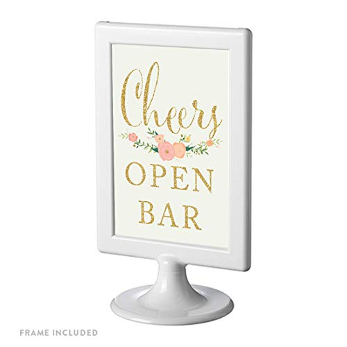 Andaz Press Framed Wedding Party Signs, Faux Gold Glitter on Ivory with Pink Peach Florals, 4×6-inch, Open Bar Cheers!, 1-Pack
