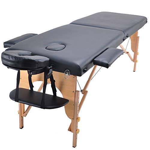 AOSUN Professional Portable Massage Table Folding Massage Bed With Carrying Case Adjustable Height For Salon SPA,Black