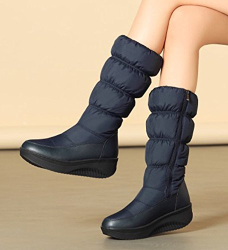 Aisun Round Boots Thick Comfy Low Shoes Blue Heels Zipper Platform Women's Mid Snow Side Sole Warm Calf Toe rw1rUt