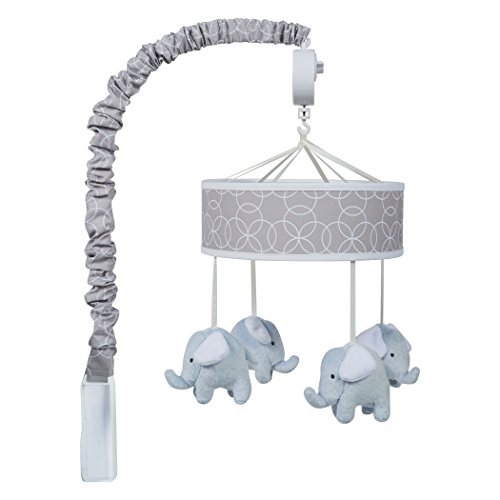 Trend Lab Gray and White Circles Plush Elephant Musical Mobile, Baby Mobile, Elephant Nursery Décor from Trend Lab