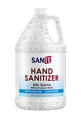 Sanit Moisturizing Hand Sanitizer Gel 70% Alcohol – Kills 99.99% Germs, Advanced Formula with Vitamin E andAloe Vera – Soothing Gel, Fresh Scent, Made in USA – 1 Gallon