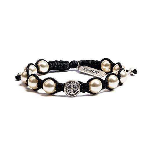 (My Saint My Hero Divine Blessing Bracelet - White Pearl, Silver Medal, Black Cording)