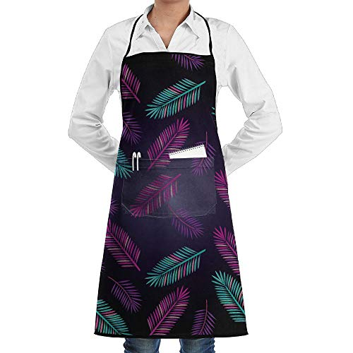 LOGENLIKE Plants Leaves Kitchen Aprons, Adjustable Classic Barbecue Apron Baker Restaurant Black Bib Apron With Pockets For Men And Women