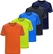 5 Pack Men's Dry Fit Tshirt Short Sleeve Moisture Wicking Athletic Shirts Sport Active wear Tee Round Neck
