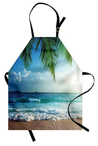 Ambesonne Ocean Apron, Palms Tropical Island Beach Seashore Water Waves Hawaiian Nautical Marine, Unisex Kitchen Bib Apron with Adjustable Neck for Cooking Baking Gardening, Blue Green Turquoise ()