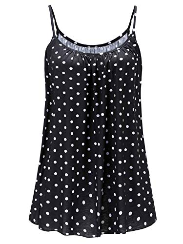 7th Element Womens Plus Size Cami Basic Camisole Tank Top (Black Polka Dot, - Tank Pima Cotton