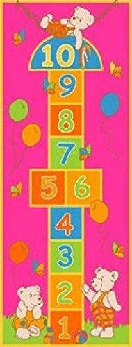 Kids Children 2.5' X 7' Hopscotch Bear Purple Play Fun Girls Rug Runner