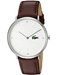 Lacoste Mens Quartz Stainless Steel and Leather Casual Watch, Color:Brown (Model: 2010872)
