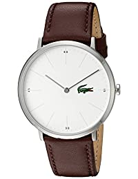 Lacoste Men's Quartz Stainless Steel and Leather Automatic Watch, Color: Brown (Model: 2010872)