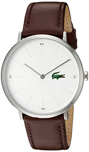 Lacoste Men's Stainless Steel Quartz Watch with Leather Calfskin Strap, Brown, 20 (Model: 2010872) (Lacoste Watch Band)