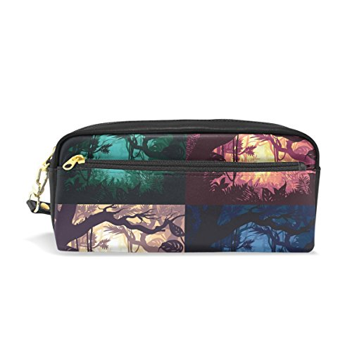 ALAZA Tropical Jungle Forest PU Leather Pen Pencil Case Pouch Case Makeup Cosmetic Travel School Bag