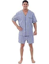 Del Rossa Men's Cotton Pajamas, Short V-Neck Woven Pj Set