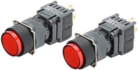 uxcell AC110-220Vライト SPDTラッチング押しボタンスイッチ レッドライト 丸形ドヘッド 2個入り